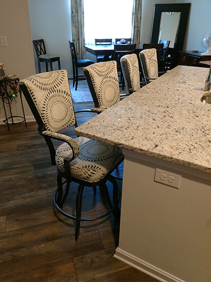 Lisa Furniture's #2545 Tilt Swivel Counter Stools in Silver and Pattern on Seat/Back Cushion - in Transitional Kitchen