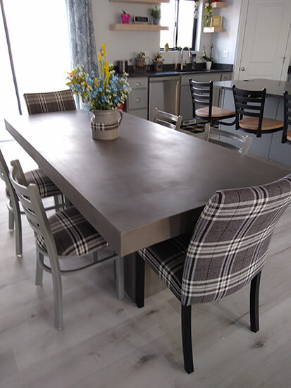 Trica's Biscaro Plus Dining Chair with Plaid Seat/Back Cushion in Black in Modern Dining Room