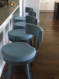 Amisco's Barry Swivel Bar Stools in Gray Metal and Blue Seat/Back Cushion