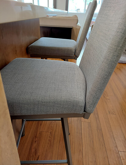 Amisco's Linea Modern Upholstered Swivel Counter Stools in Blue Seat/Back Cushion
