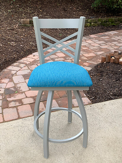 Holland's #820 Catalina Swivel Counter Stools in Nickel Metal Finish and Blue Seat Cushion
