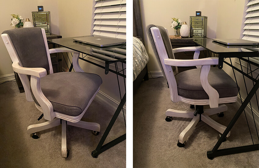 Darafeev's 960 Maple Adjustable Swivel Arm Office Chair in Distressed White Wood Finish and Gray Seat Back Cushion
