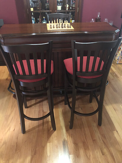 Holland's #3120 Hampton Wood Bar Stools in Dark Cherry and Red Seat Cushion in Home