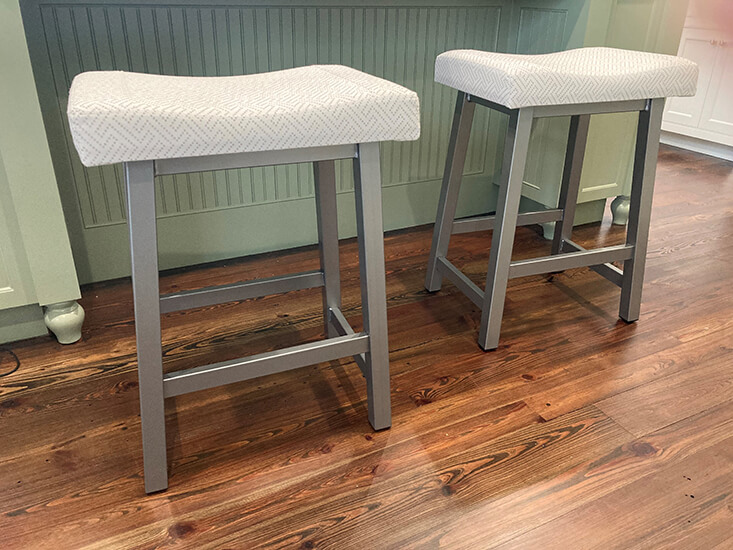 Amisco's Miller Backless Saddle Counter Stool in Nickel Finish in Kitchen