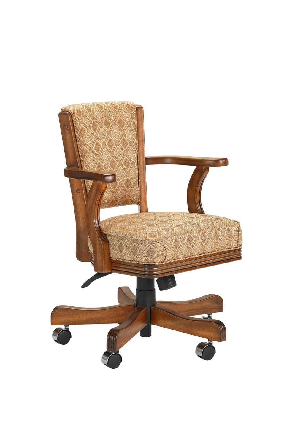 910 Maple Wood Upholstered Arm Game Chair with Casters
