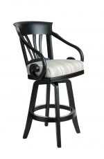 Darafeev's Nomad Wood Swivel Bar Stool with Arms in Black and White Seat Cushion
