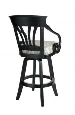 Darafeev's Nomad Wood Swivel Bar Stool with Arms in Black and White Seat Cushion - Back View