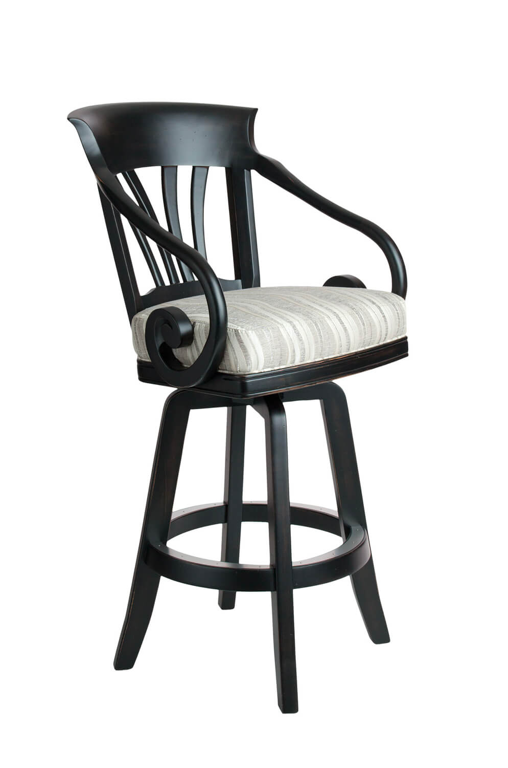 Nomad Maple Wood Upholstered Swivel Stool with Arms
