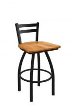 Holland's Jackie Swivel Stool with Low Back in Black Wrinkle and Medium Maple Wood Seat