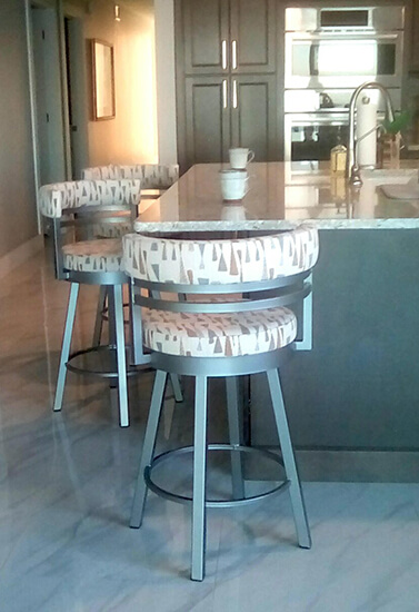Amisco's Ronny Swivel Counter Stool in Nickel Metal and Arrowhead Tan Pattern in Modern Kitchen