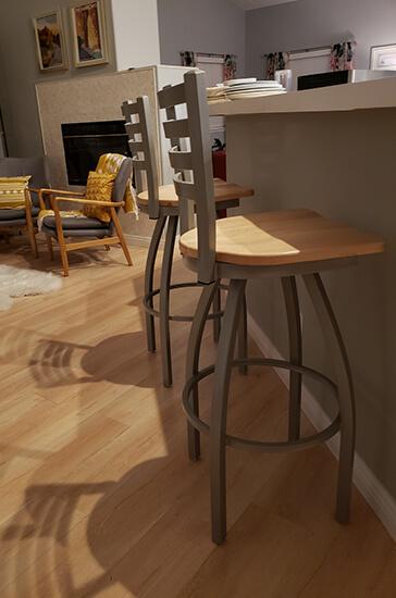 Holland's Jackie XL Swivel Bar Stool in Bronze Ladder Back Design in Kitchen