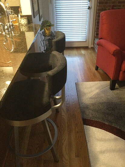 Amisco's Barry Swivel Counter Stool in Silver Metal and Black Fabric in Kitchen