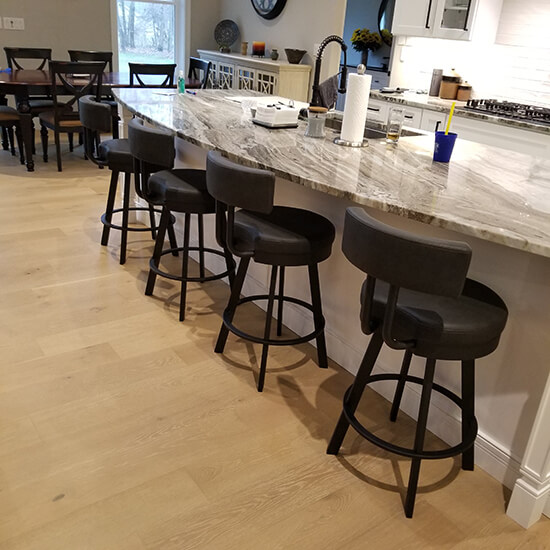 Amisco's Barry Black Swivel Counter Stools in Modern Kitchen