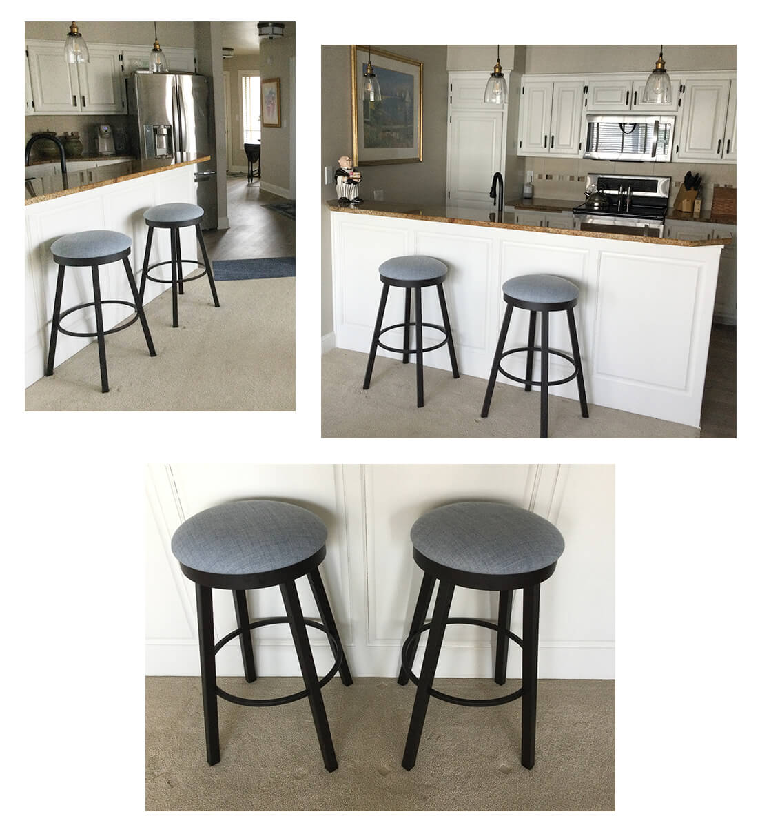 Amisco's Connor Backless Swivel Bar Stool in Dark Brown Metal and Blue Seat Cushion in Transitional Kitchen
