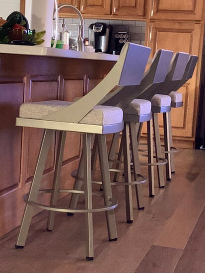 Amisco's Fame Swivel Counter Stool in Taupe Gray in Transitional Kitchen