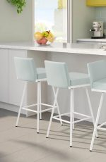 Amisco's Linea Modern White Barstools with Blue Green Cushion in Modern Kitchen