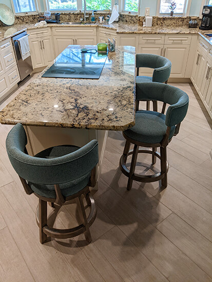 Darafeev's Ace Maple Swivel Wood Counter Stools in Rustic Pewter and Aqua Cushion in Customer Kitchen