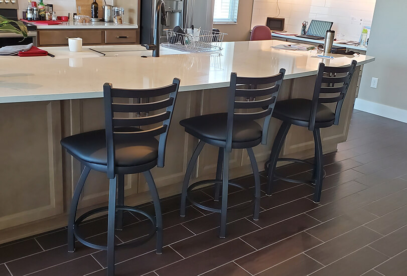 Holland's 410 Jackie Swivel Counter Bar Stools in Black in Modern Kitchen