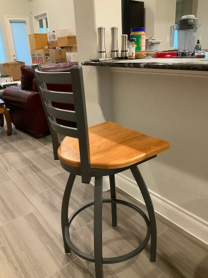 Holland's Jackie XL Swivel Stool in Pewter and Oak Medium with Ladder Back in Customer's Kitchen