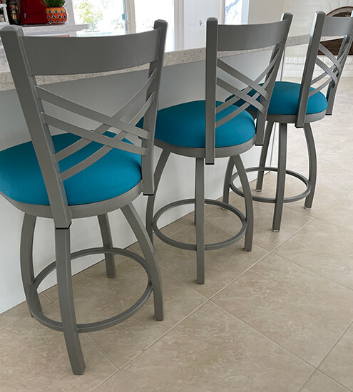 Holland's #820 Catalina Swivel Nickel Kitchen Counter Stool in Turquoise Seat Cushion