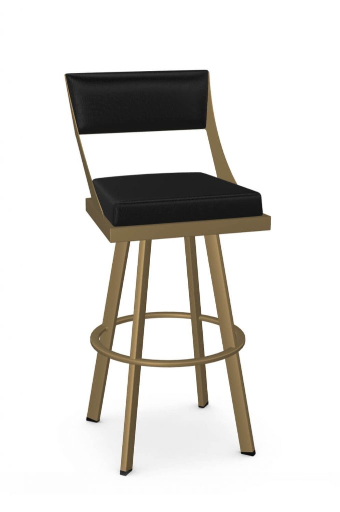 Amisco's Fame Modern Gold and Black Swivel Bar Stool with Back