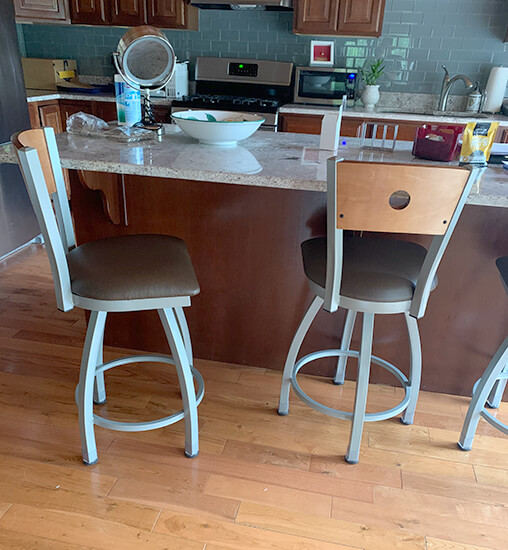 Holland's Voltaire 26-inch Counter Stools in Nickel Finish and Brown Seat Cushion and Medium Wood Back in Kitchen