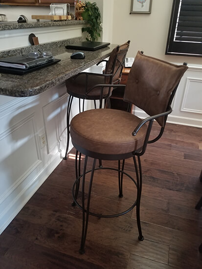 Trica's Brown Bill Swivel Bar Stools with Arms in Home Office