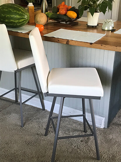 Amisco's Linea Modern Gray and White Swivel Bar Stool with Back in Customer Kitchen