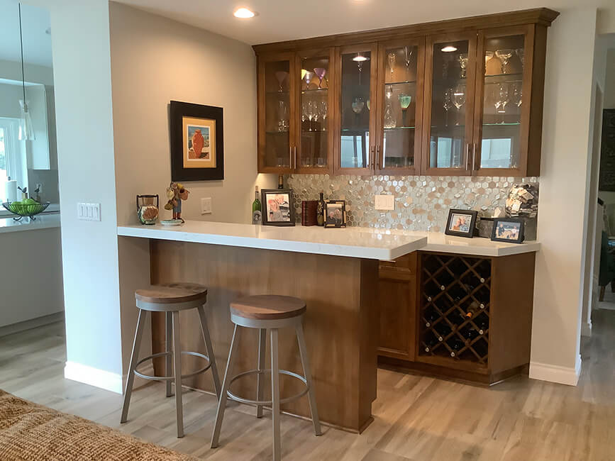 Amisco's Connor Backless Swivel Bar Stools in Taupe Gray Metal Finish and Toasty Wood Finish - In Modern Brown Home Bar