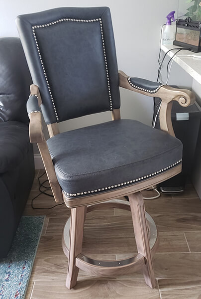 Darafeev's Marsala Traditional Swivel Counter Stool in Blue Leather, Nailhead Trim, and With Arms