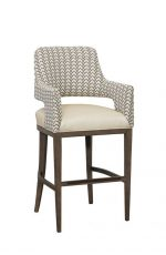 Fairfield's Josie Transitional Wood Bar Stool with Arms - Upholstered in Brown