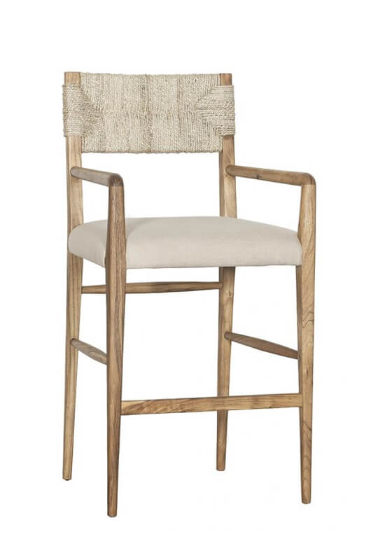 Portside Natural Wood Bar Stool with Arms