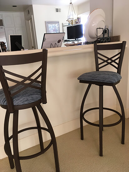 Holland's Catalina Bronze Swivel Bar Stools with X Back in Kitchen