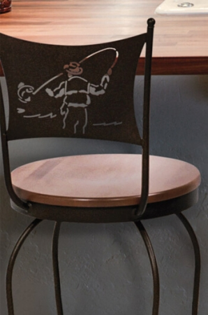 Trica's Art Collection Swivel Stool with Wood Seat and Fisherman Back Design