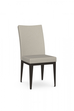 Amisco's Alto Comfortable Padded Metal Dining Chair in Black and Brown