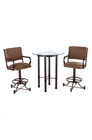 Burnet Pub Table with Two Swivel Bar Stools