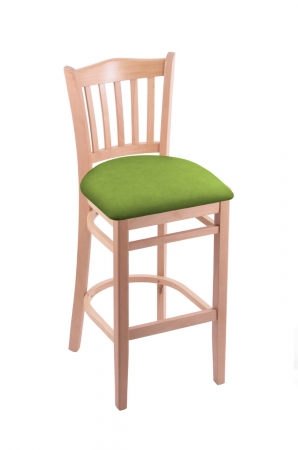 Holland's Hampton 3120 Wooden Barstool in Natural Wood Finish and Green Vinyl Seat
