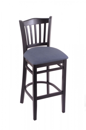 Holland's #3120 Hampton Black Wood Stool with Blue Seat Cushion, Backrest and Footrest