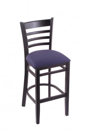 3140 Hampton Black Wood Stool with Ladder Back and Seat Cushion Axis Denim
