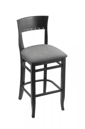 Holland's #3160 Hampton Bar Stool in Black Wood and Gray Seat Cushion