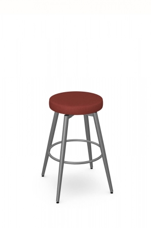 Amisco's Nox Backless Swivel Stool in Gray Metal and Red Seat Cushion
