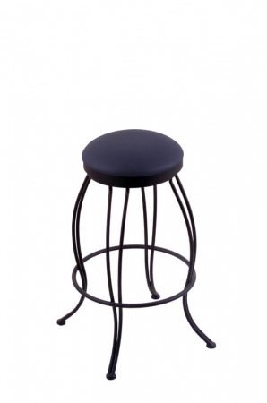 Holland's 3000 Georgian Backless Swivel Stool with Blue Seat and Black Metal Frame