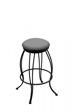 Holland's 3000 Georgian Backless Swivel Barstool in Black Metal Finish and Grey Vinyl Seat