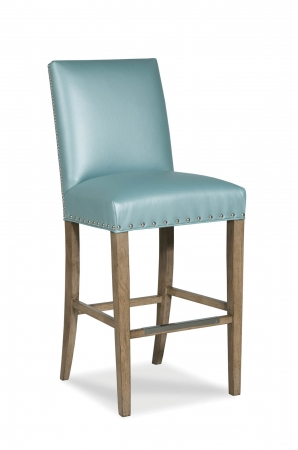 Fairfield's Evans Wooden Stool with Upholstered Seat and Back