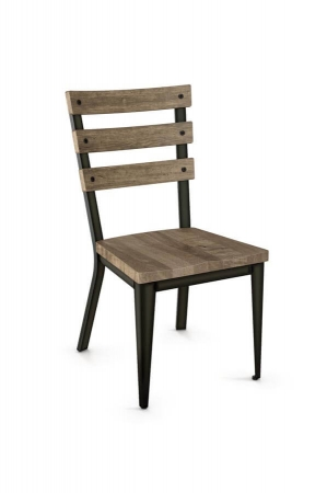 Amisco's Dexter Side Chair with Wood Seat and Hammered Wood Backrest