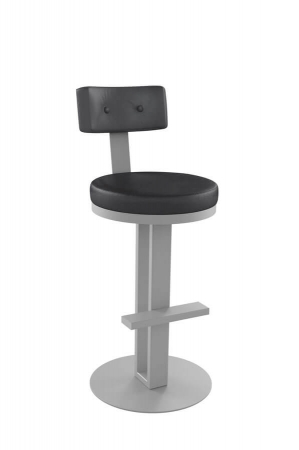 Amisco's Empire Swivel Stool with Backrest and Pedestal Base