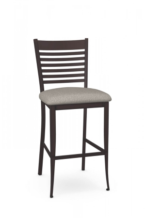 Amisco's Edwin Stationary Transitional Espresso Bar Stool with Ladder Back Design