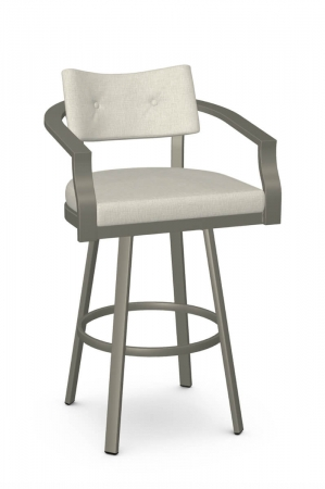 Amisco's Jonas Modern Bar Stool Upholstered with Arms - Taupe Gray