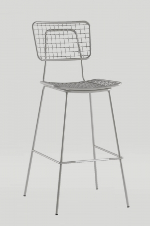 Grand Rapid's Opla Outdoor Barstool with Back in Mirror Silver Metal Finish