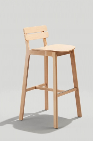 Grand Rapid's Brooke Wood Stationary Barstool with Slat Back, Curved Seat, and Footrest